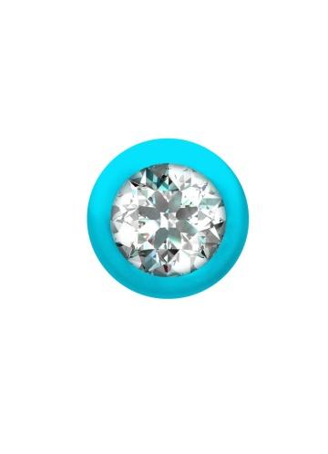 Бирюзовая анальная цепочка с кристаллом Buddy - 17,7 см.