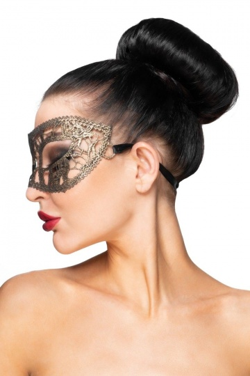 """Золотистая карнавальная маска """"Хатиса"""""""