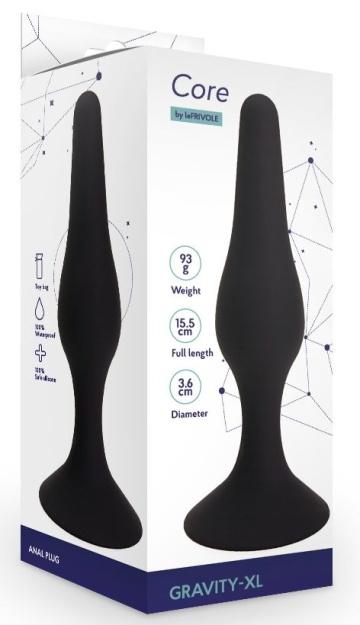 Черная анальная пробка Gravity - 15,5 см.