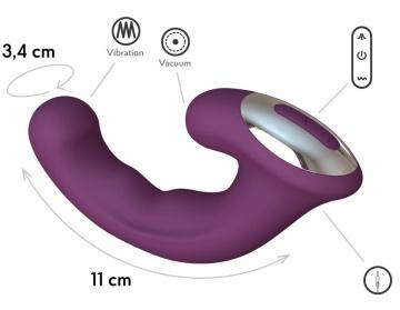 Фиолетовый вибратор Phoenix с вакуумной стимуляцией клитора - 18 см.