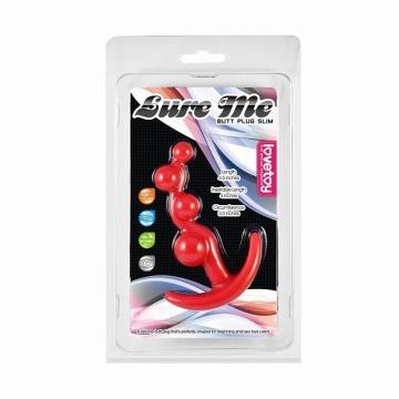 Красная анальная цепочка LURE ME Silicone Anal Toy - 10,5 см.