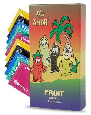 """Ароматизированные презервативы AMOR Fruit """"Яркая линия"""" - 10 шт."""