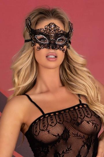 Оригинальная кружевная маска Diamond со стразами