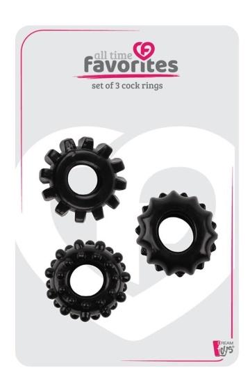 Набор из 3 черных эрекционных колец SET OF 3 COCKRINGS