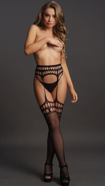 Чулки на поясе из мягкой сетчатой ткани Garterbelt Stockings With Open Design