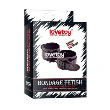 Черные поножи Bondage Fetish Pleasure Ankle cuffs с контрастной строчкой