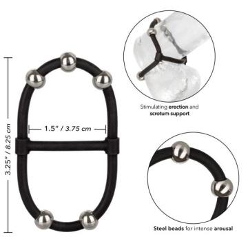 Черное эрекционное кольцо с бусинами Steel Beaded Dual Silicone Maximizer