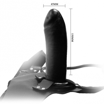 Черный большой страпон с функцией расширения - 15 см.