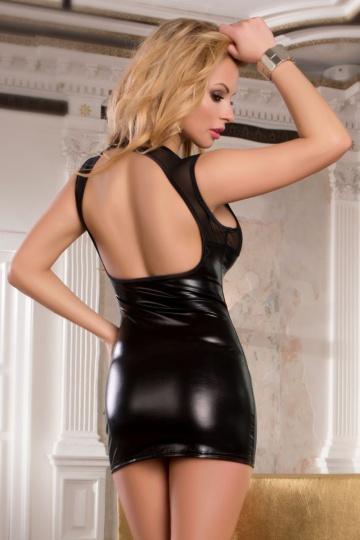 Платье с wetlook-эффектом, открытой спиной и прозрачным лифом