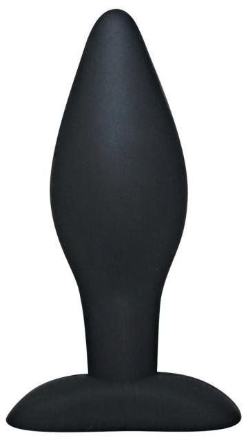 Чёрный анальный стимулятор Silicone Butt Plug Large - 12 см.