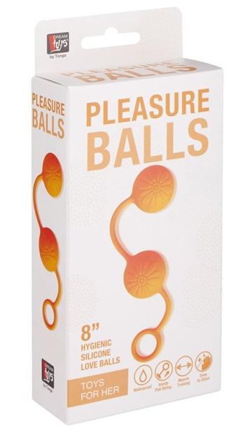 Оранжевые вагинальные шарики с цветочками на поверхности