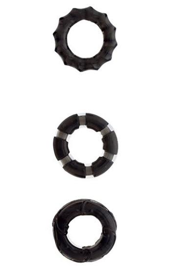 Набор из 3 чёрных эрекционных колец MENZSTUFF STRETCHY COCK RINGS