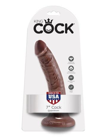"""Коричневый фаллоимитатор с присоской 7"""" Cock - 17,8 см."""