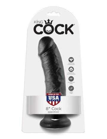 """Чёрный фаллоимитатор 8"""" Cock - 20,3 см."""