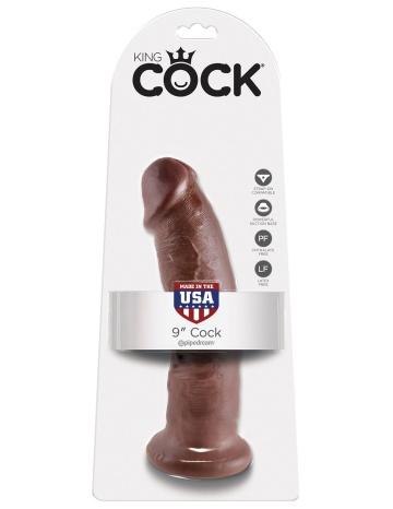 "Коричневый фаллоимитатор 9"" Cock - 22,9 см."