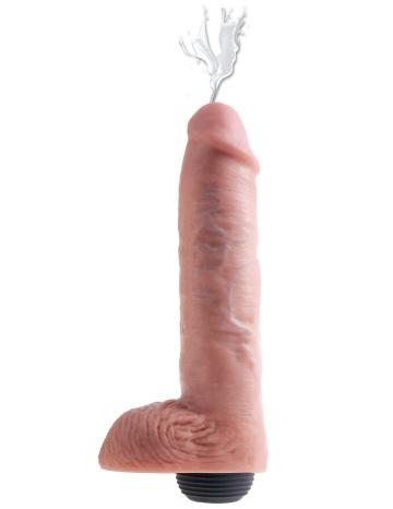 """Телесный фаллоимитатор с функцией семяизвержения 11"""" Squirting Cock with balls - 27,9 см."""