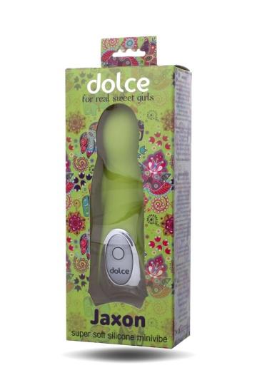 Нежно-зелёный вибратор Dolce Jaxon - 12,5 см.