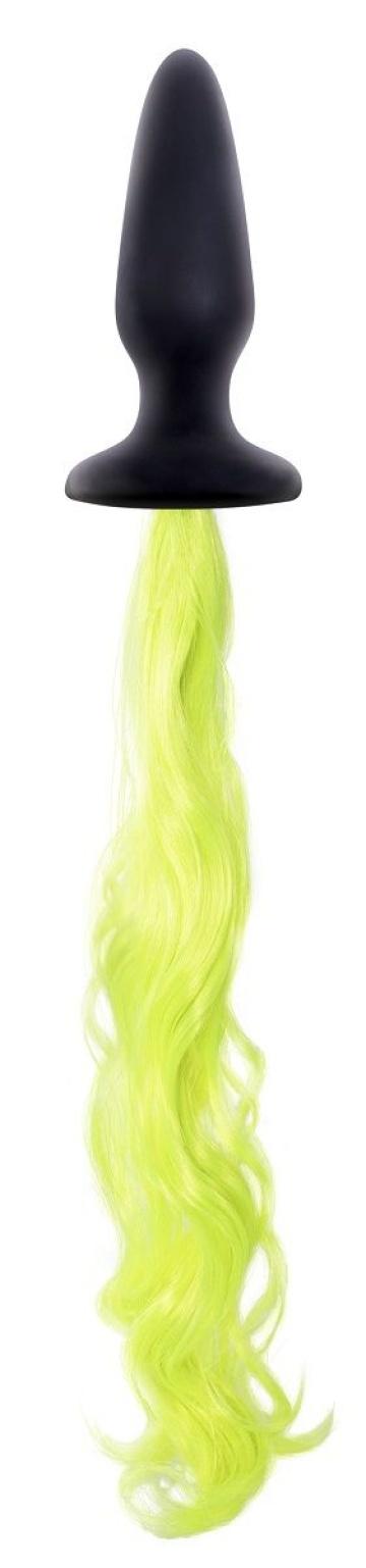 Чёрная анальная пробка с неоново-жёлтым хвостом Unicorn Tails Yellow - 9,9 см.