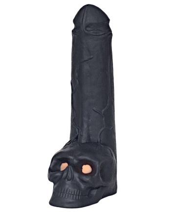 """Фаллоимитатор """"Призрачный всадник"""" с мошонкой в виде черепа - 28,5 см."""