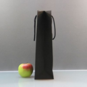 Чёрный бумажный пакет для покупок - 23 х 36 х 10 см.
