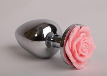 Серебристая анальная пробка со светло-розовой розочкой - 9,5 см.