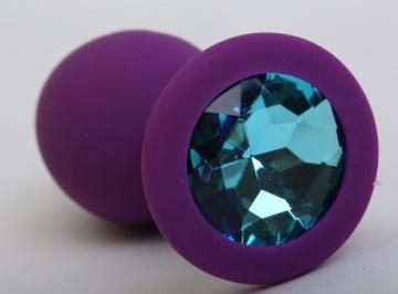 Фиолетовая силиконовая пробка с голубым стразом - 9,5 см.
