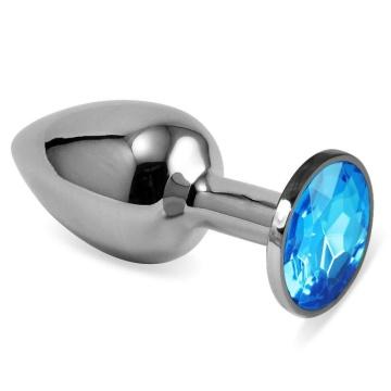 Серебристая анальная пробка с голубым кристаллом размера L - 9 см.