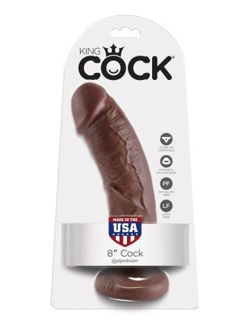 "Коричневый фаллоимитатор 8"" Cock - 20,3 см."