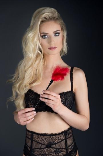 Пластиковая метелочка с красными пёрышками Small Feather Tickler - 32 см.