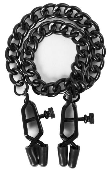 Чёрные зажимы на соски Alabama Crossover Nipple Clamps с цепью