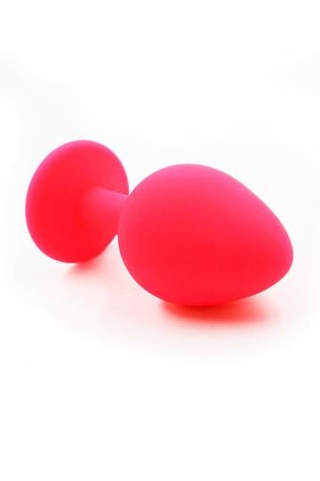 Розовая силиконовая анальная пробка с темно-фиолетовым кристаллом - 7 см.