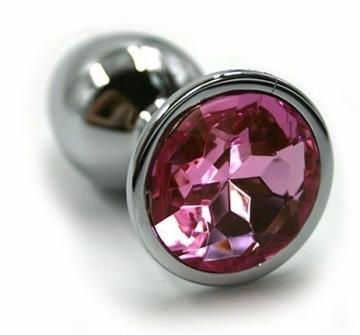 Серебристая алюминиевая анальная пробка с светло-розовым кристаллом - 7 см.