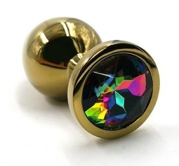 Золотистая алюминиевая анальная пробка с радужным кристаллом - 6 см.