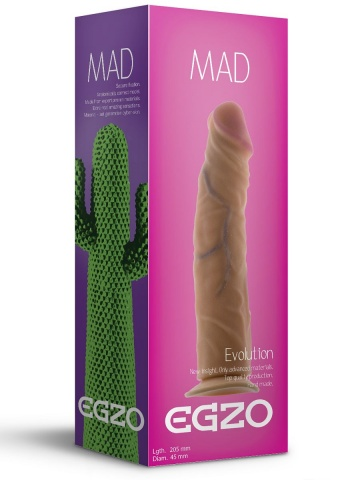Реалистичный фаллоимитатор без мошонки Mad Cactus - 20,5 см.