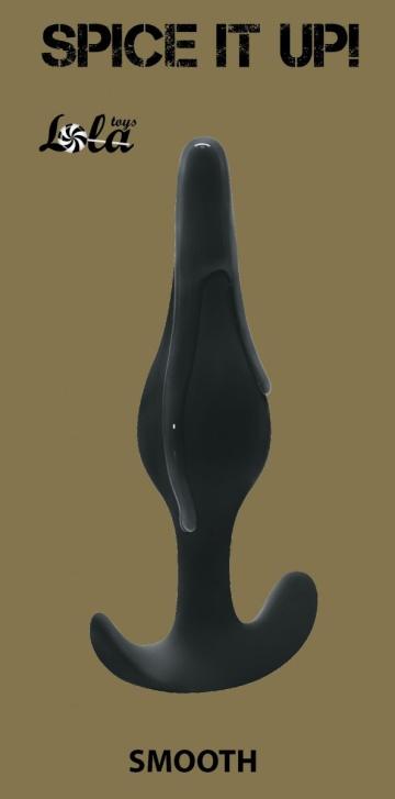 Чёрная анальная пробка Smooth - 12,5 см.