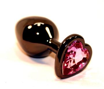 Чёрная пробка с розовым сердцем-кристаллом - 7 см.