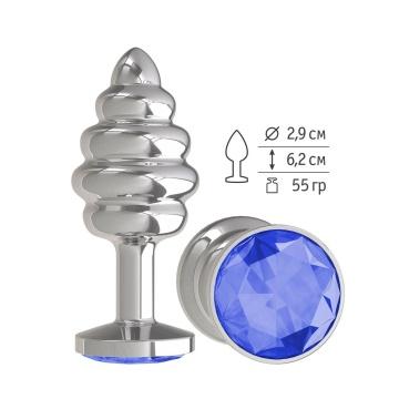 Серебристая пробка с рёбрышками и синим кристаллом - 7 см.