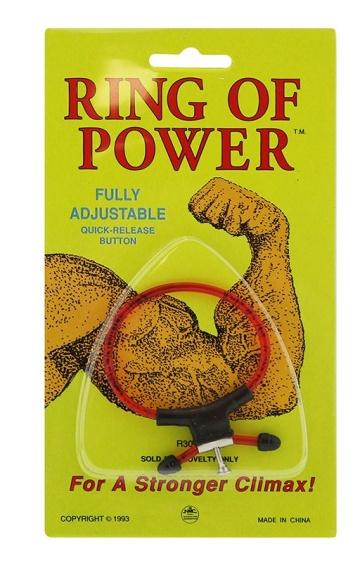 Красно-чёрное эрекционное кольцо с утяжкой RING OF POWER ADJUSTABLE RING