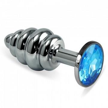 Серебристая фигурная анальная пробка с голубым кристаллом - 8,5 см.