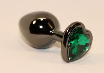 Черная коническая анальная пробка с зеленым кристаллом-сердечком - 8 см.